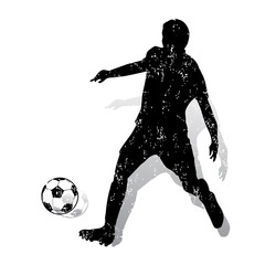 Soccer player with ball makes a punch, ink-silhouette on white background,