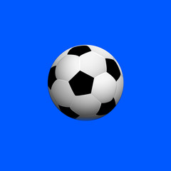 Soccer ball on blue background,