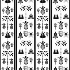 Seamless pattern with palm trees, pineapples, leaves in black and white