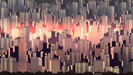 Urban City Nightscape - Vector Illustration.