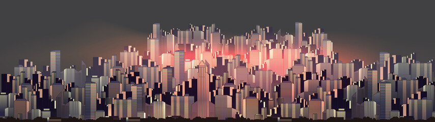 Urban City Nightscape Panorama - Vector Illustration.
