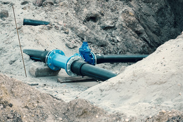 Water system pipeline at construction site
