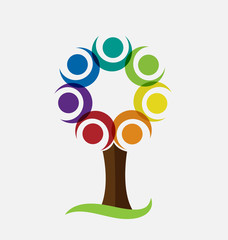 Tree with teamwork people vector