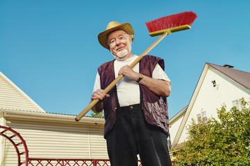 raking in garden