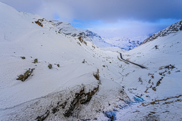 Snowy Julier Pass at Switzerland on a snowy day