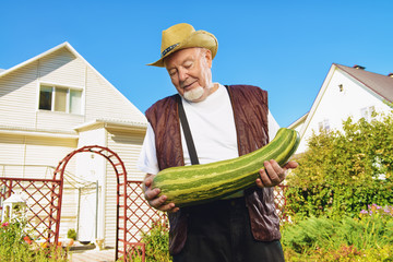 old man with zucchini