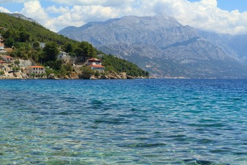 Beautiful view of the Adriatic Sea in Croatia in southern Dalmatia with mountains in the background