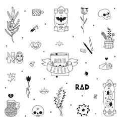 Old school hipster black tattoo vector set. Part three.