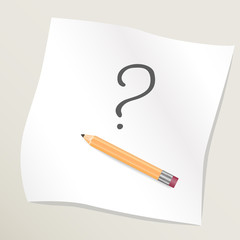 Pencil drawing question mark on sheet of white paper. Vecror illustration