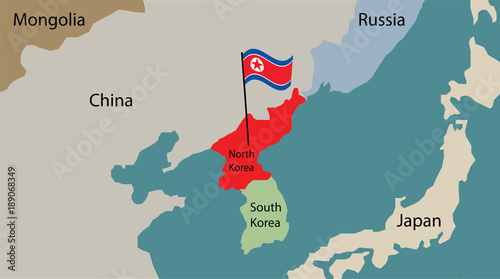 north korea map with flag of korea \