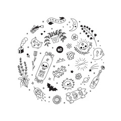 Old school black tattoo vector circle illustration. Part one.