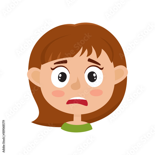 little girl scared face expression, cartoon vector illustrations
