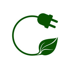 Eco plug icon. Electric plug with green leaf representing green energy from renewable sources. Vector Illustration