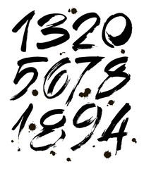 set of calligraphic acrylic or ink numbers. ABC for your design, brush lettering on a white background with blots