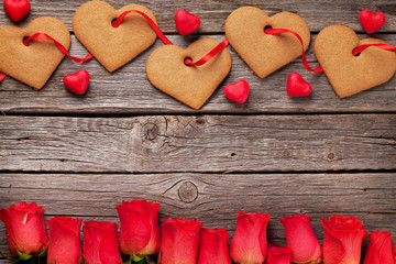 Valentines day greeting card with heart cookies and flowers