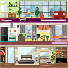 Family interior vector flat poster set