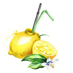 Natural organic lemon juice. Watercolor hand drawn illustration