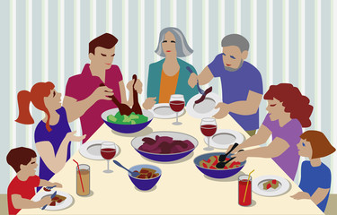 Vector Illustration from big family celebrating. Grandparents, parents and children at table eating and speaking.