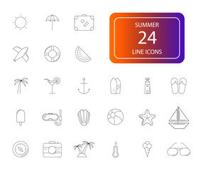 Line icons set. Summer pack. Vector illustration