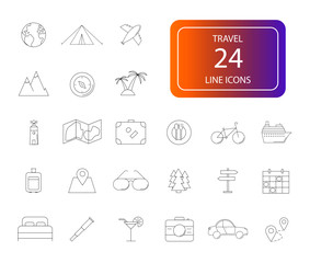 Line icons set. Travel pack. Vector illustration