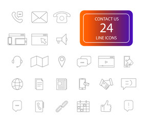 Line icons set. Contact us pack. Vector illustration