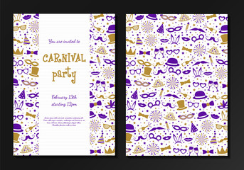 Carnival Party - concept of card with funny costumes. Two sided invitation. Vector.