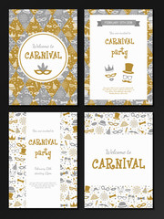 Big collection of cards with funny texture for Carnival Party. Vector.