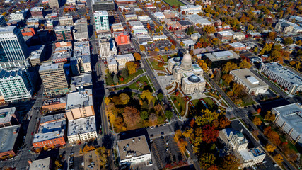 Aerial view of the Idaho state capital with fall colored trees