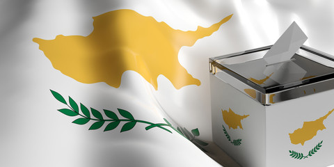 Cyprus elections. Ballot box on Cyprus waving flag background. 3d illustration