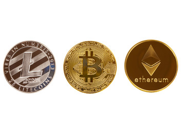Bitcoin, ethereum and litecoin coins isolated on white background. Crypto currency - electronic virtual money for web banking and international network payment.
