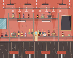 Interior of a modern city bar. Vector illustration