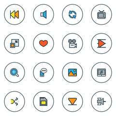 Music icons colored line set with memory, communication antenna, mobile content and other bottom  elements. Isolated vector illustration music icons.