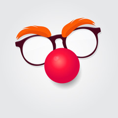 Red nose day. Carnival goggles with a red nose.