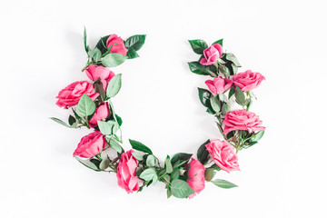 Flowers composition. Wreath made of pink rose flowers on white background. Flat lay, top view, copy space