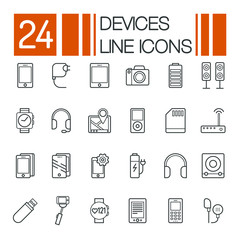 Set of Electronic Devices flat thin line Icons vector