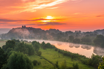 Tuinposter Koraal Colorful morning landscape in the morning, Poland, Tyniec near Krakow