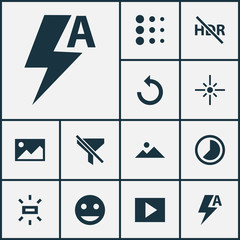 Photo icons set with brightness, no filter, multimedia and other rotate left  elements. Isolated  illustration photo icons.