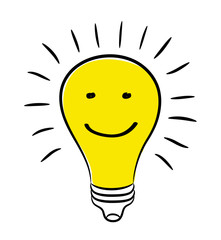 Electric Bulb and Smile Face as Concept of Great Idea, stock vector illustration