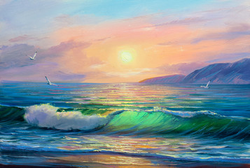 Seascape  painting .Sea wave.