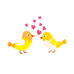 Two lovely birds couple vector fall in love fly animals kissing with hearts yellow birds illustration