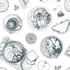 Breakfasts and brunches seamless pattern. Food menu design. Vintage hand drawn sketch vector illustration.The design of packaging or menu for Breakfast.