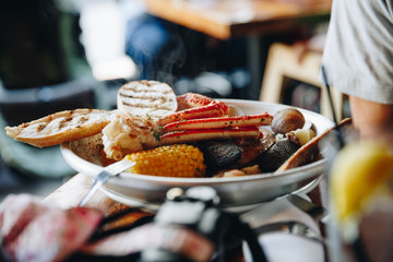 Steaming Plate of Low Country Boil in Restaurant