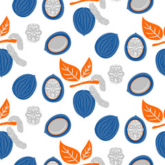Blue and orange stylized walnut vector seamless pattern. Cartoon style nut snack plant.