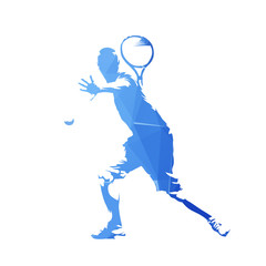 Tennis player, blue geometric vector silhouette