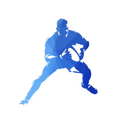 Rugby player running with ball in hands. Abstract geometric blue vector silhouette