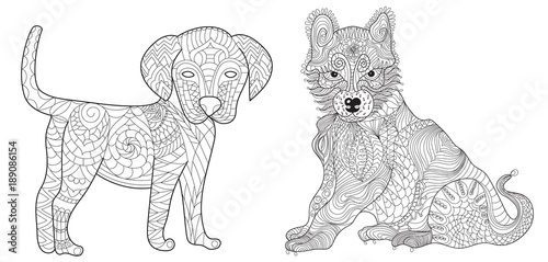 Set 2 dogs anti stress vector coloring book for adult ...