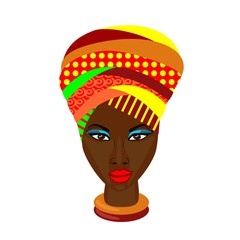 african woman on white