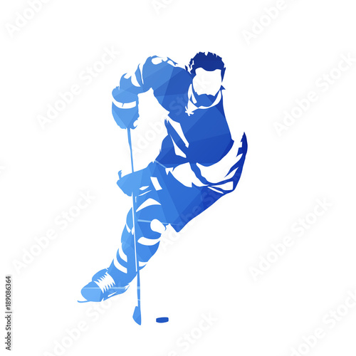 Skating ice hockey player, abstract blue geometric vector