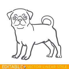 Dog zodiac sign. Pug Chinese calendar 2018. Editable line sketch icon. Stock vector illustration.