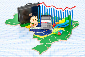 Business, commerce and finance in Brazil concept, 3D rendering